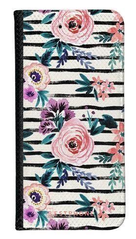 Portfel Wallet Case Huawei P30 kwiaty i paski