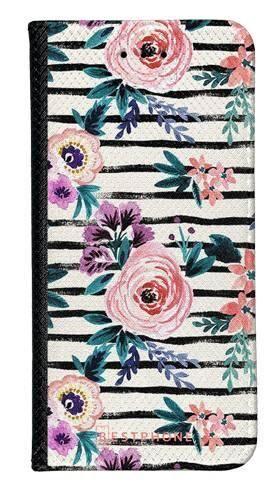 Portfel Wallet Case LG G8 ThinQ kwiaty i paski