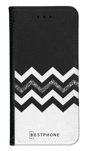 Portfel Wallet Case LG K40 biało czarny szlaczek