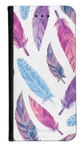 Portfel Wallet Case LG K40 fioletowe piórka