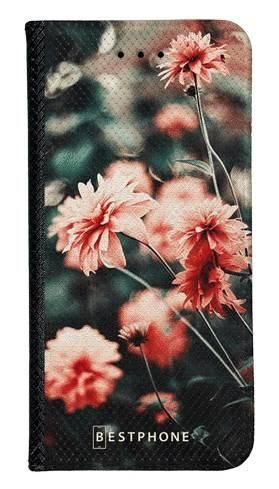 Portfel Wallet Case Samsung Galaxy A60 pomarańczowe kwiaty