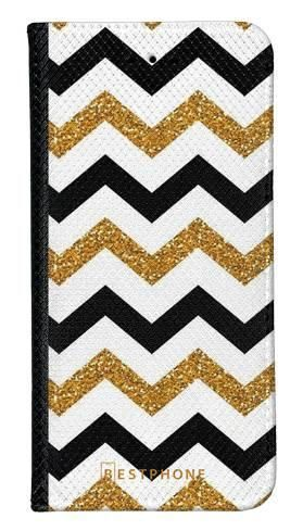 Portfel Wallet Case Samsung Galaxy A60 złoto czarny szlaczek