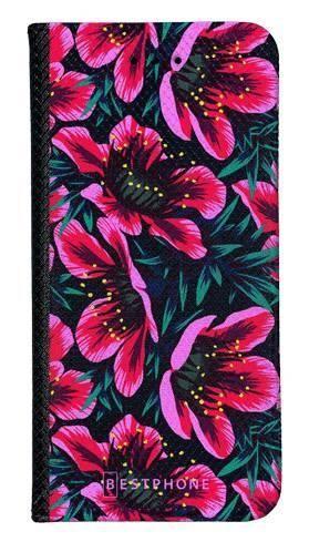 Portfel Wallet Case Samsung Galaxy Core Prime różowo czarne kwiaty