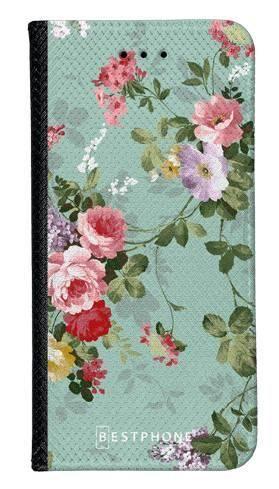 Portfel Wallet Case Samsung Galaxy Core Prime zielone kwiatki