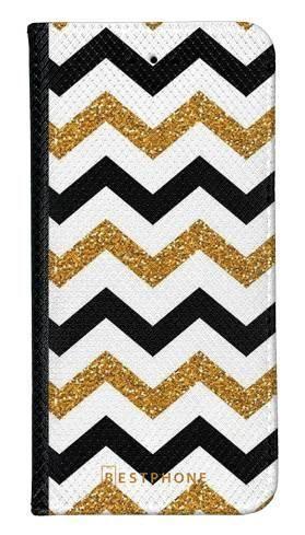 Portfel Wallet Case Samsung Galaxy Core Prime złoto czarny szlaczek