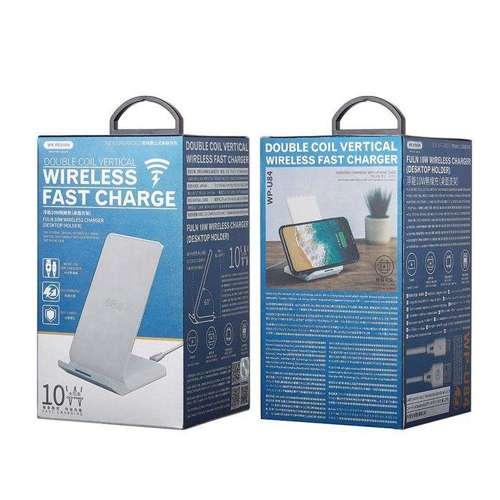 WK Design bezprzewodowa ładowarka Qi 10W podstawka na telefon + kabel micro USB czarny (WP-U84 black)