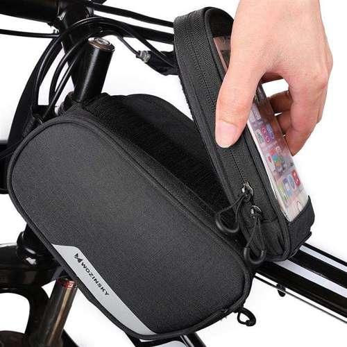 Wozinsky Torba rowerowa na ramę + odczepiany pokrowiec na telefon do 6,5 cala 1.5L czarny (WBB7BK)