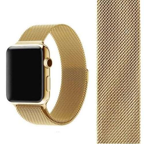 opaska pasek bransoleta MILANESEBAND Apple Watch 4/5/6/SE 44mm złoty +szkło 5D